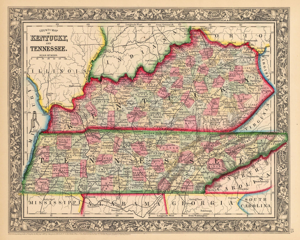 1862 County Map of Kentucky and Tennessee on map indiana and chicago, map of kentucky and ohio, map of kentucky and major cities, map of kentucky and north carolina, map of kentucky and lexington, map of kentucky and united states,