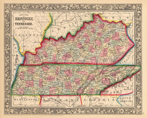 Antique Map of Kentucky and Tennessee by: Mitchell 1862 : nwcartographic.com
