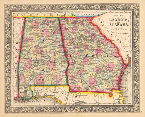1862 County Map of Georgia and Alabama