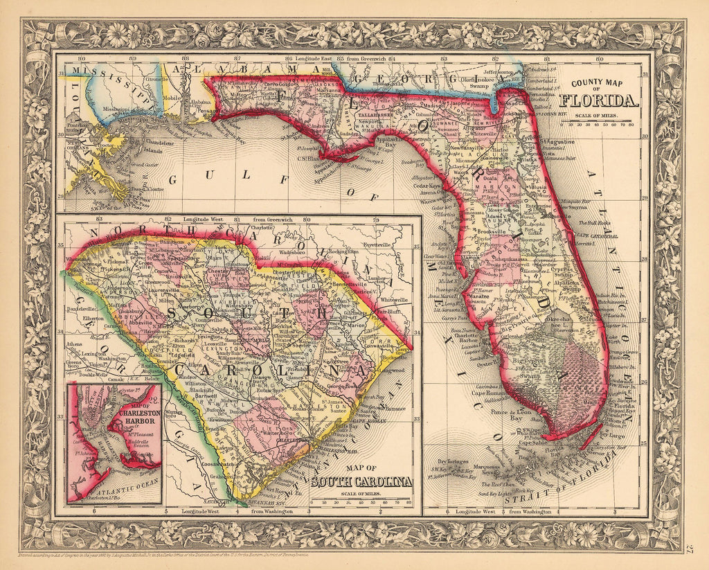 Antique Map Of Florida.Antique Map Of Florida And South Carolina By Mitchell 1862