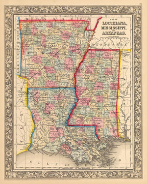 Antique Map of Louisiana, Mississippi, and Arkansas 1862 : nwcartographic.com