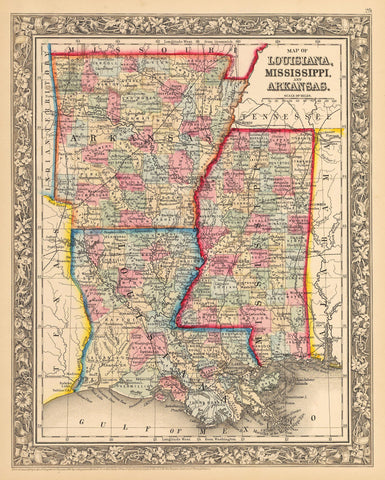 1862 Map of Louisiana, Mississippi, and Arkansas