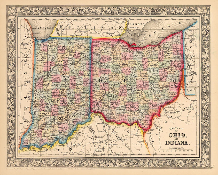 County Map of Ohio and Indiana