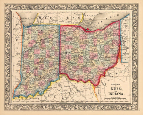 1862 County Map of Ohio and Indiana