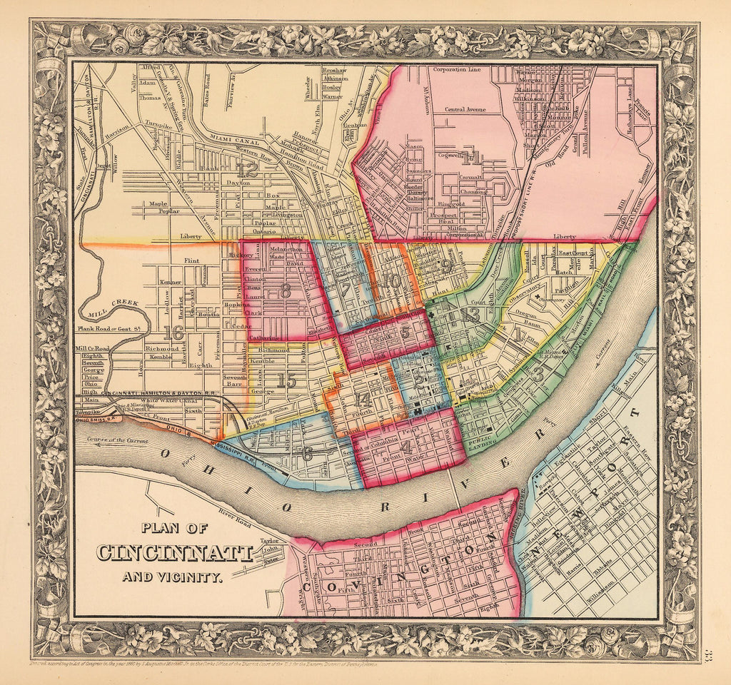 Antique Map of Cincinnati by: Mitchell 1862 : HJBMaps.com