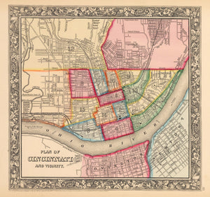 Antique Map of Cincinnati by: Mitchell 1862 : nwcartographic.com