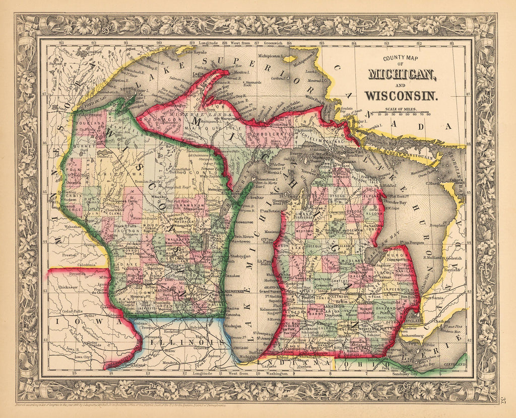 Michigan And Wisconsin Map.Antique Map Of Michigan And Wisconsin Hjbmaps Com Hjbmaps Com