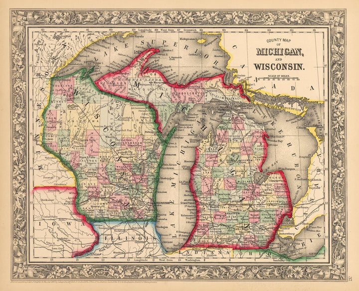 County Map of Michigan and Wisconsin, Antique map, old map, vintage map, 19th century, lithograph, Michigan, Wisconsin