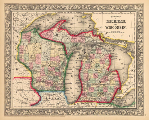1862 County Map of Michigan and Wisconsin