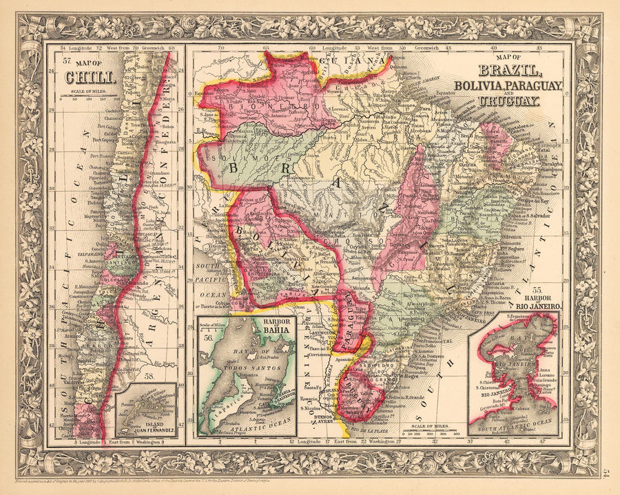 Map of Brazil, Bolivia, Paraguay, and Uruguay / Map of Chili By: Samuel A. Mitchell Jr. Date: 1862