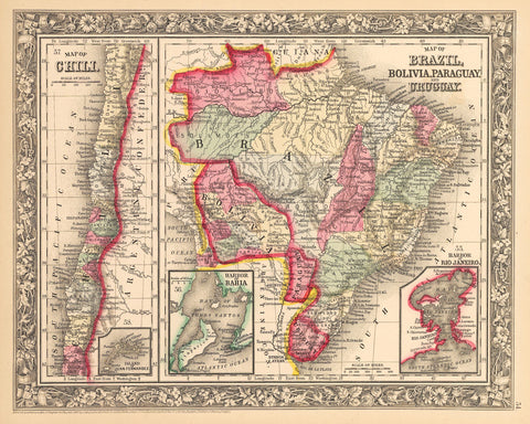 1862 Map of Brazil, Bolivia, Paraguay, and Uruguay / Map of Chili
