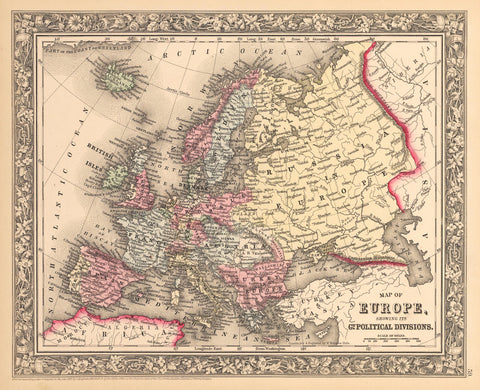 1862 Map of Europe Showing its Gt Political Divisions.