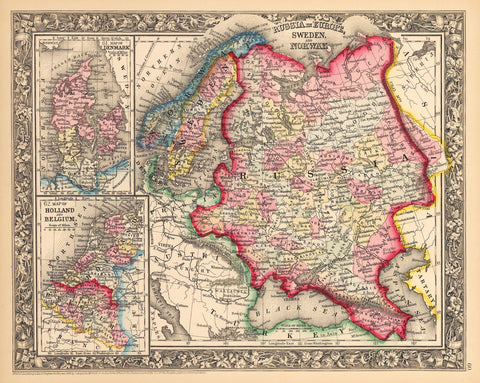 1862 Russia in Europe, Sweden and Norway / Denmark / Holland and Belgium