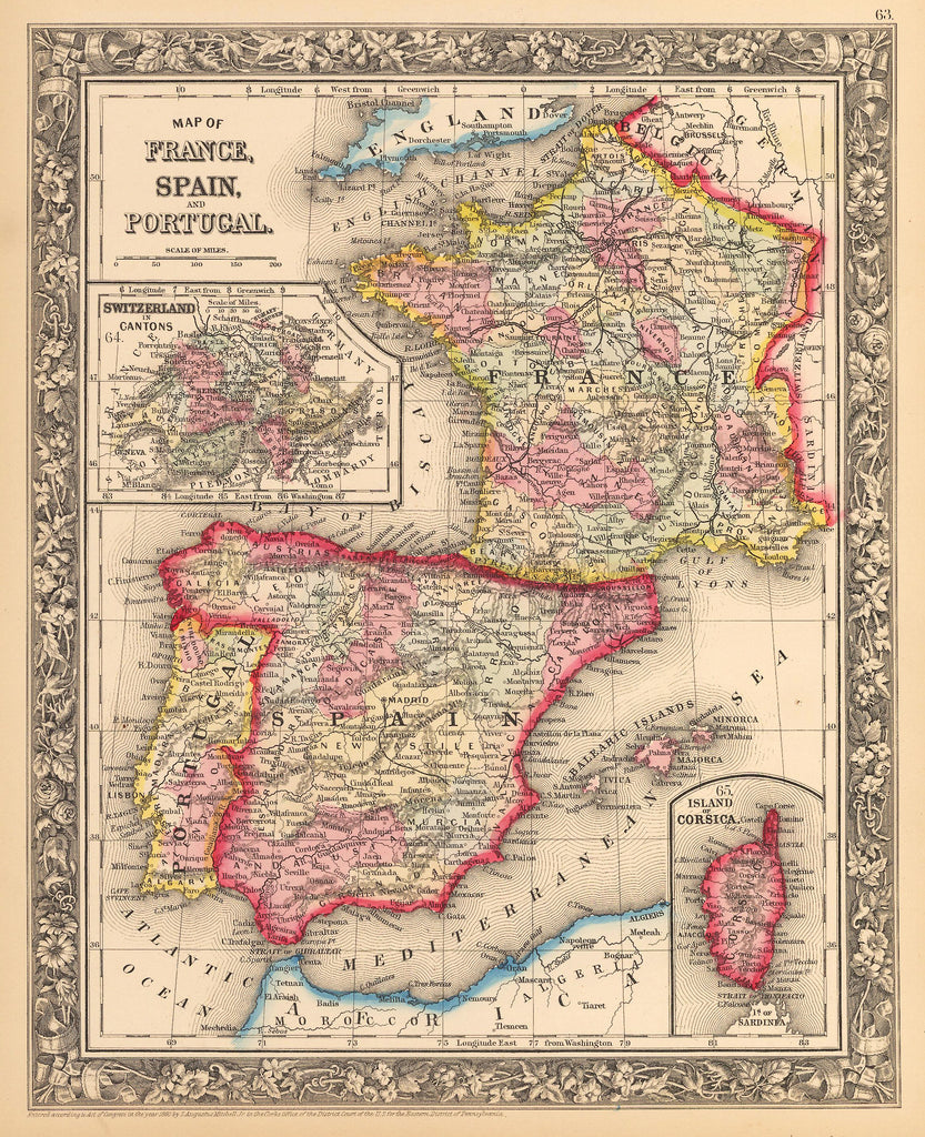 Map Of Spain And France And Portugal.Antique Map Of France Spain And Portugal By Mitchell Hjbmaps