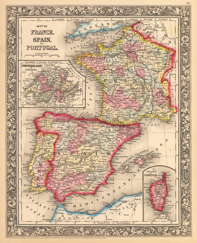 1862 Map of France, Spain, and Portugal