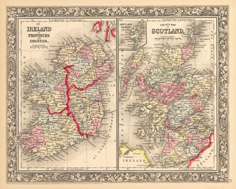 1862 Ireland in Provinces and Counties / County Map of Scotland