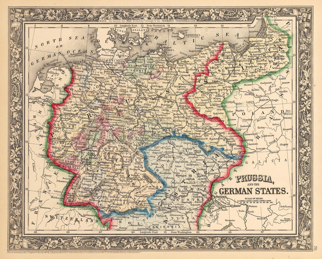 Antique Map of German States & Prussia by: Mitchell 1862 : HJBMaps.com