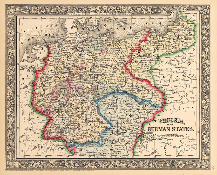 Antique Map of German States & Prussia by: Mitchell 1862 : nwcartographic.com