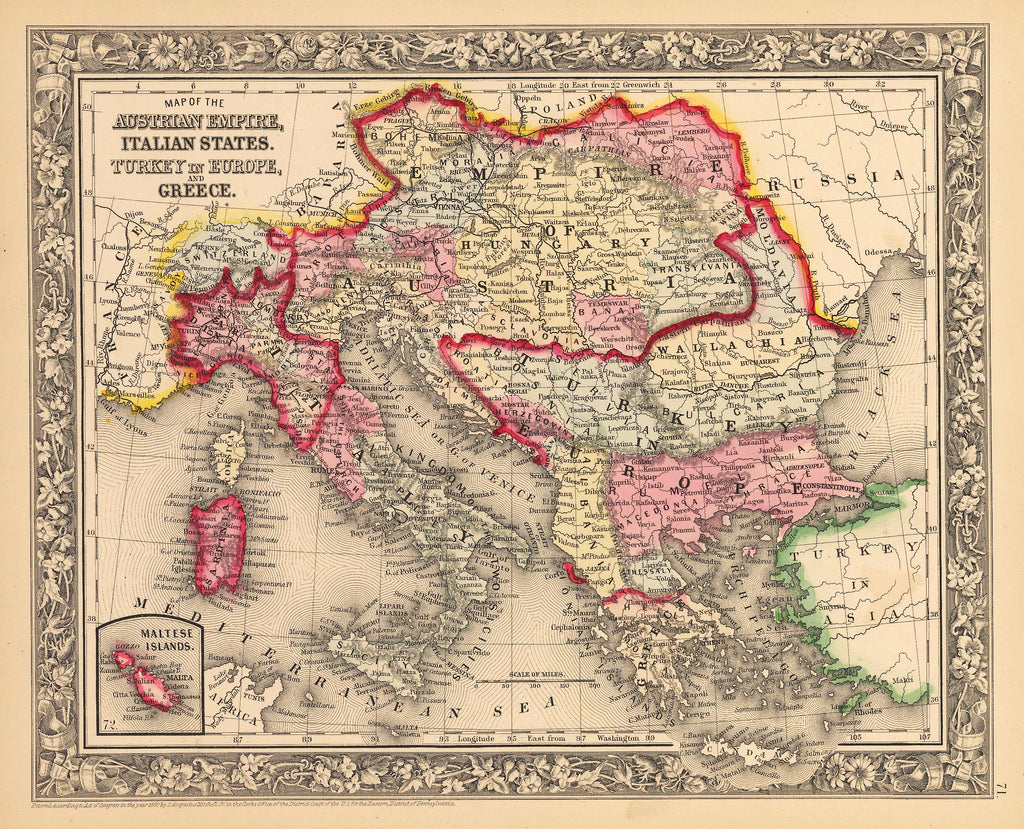 Map Of Italy Greece And Turkey.Antique Map Of Austria Italy Greece Turkey 1862 Hjbmaps Com