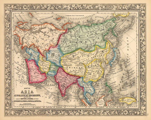 1862 Map of Asia Showing its Gt. Political Divisions...