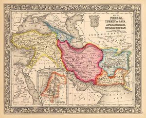 Map of Persia, Turkey in Asia, Afghanistan, Beloochistan