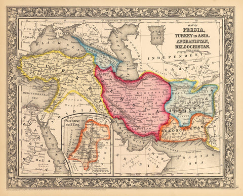 1862 Map of Persia, Turkey in Asia, Afghanistan, Beloochistan