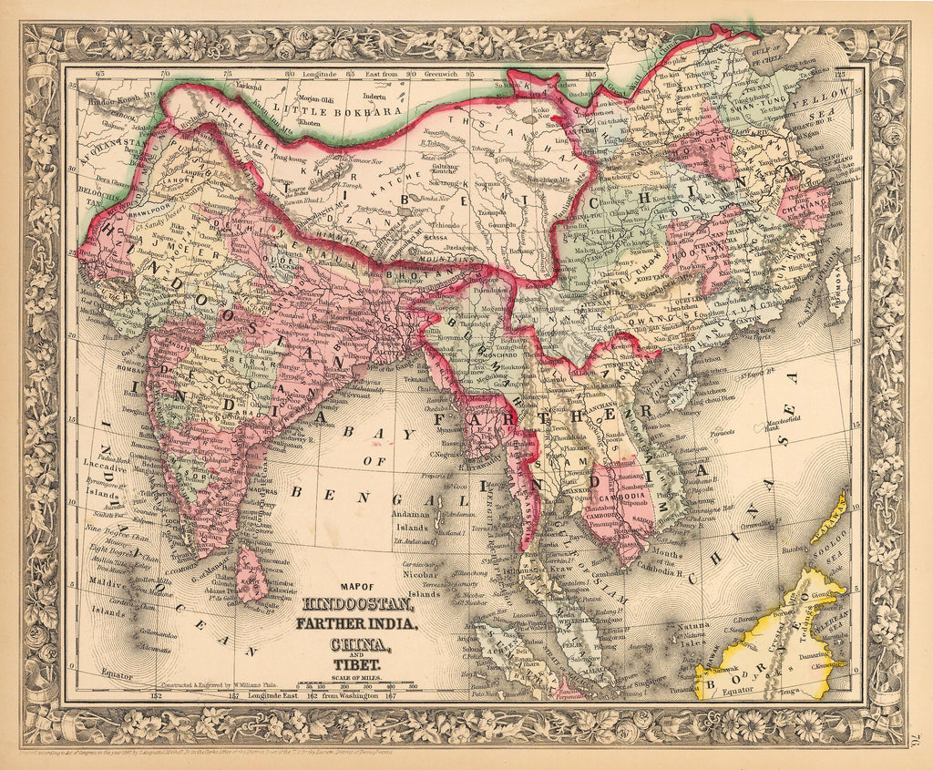 Antique Map of India, China and Tibet by: Mitchell 1862 : HJBMaps.com
