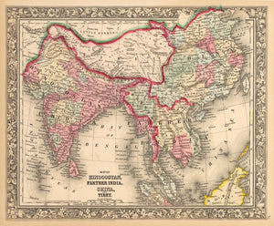 Antique Map of India, China and Tibet by: Mitchell 1862 : nwcartographic.com