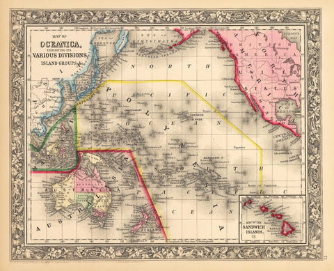 1862 Map of Oceanica, exhibiting its Various Divisions, Island Grounps &c