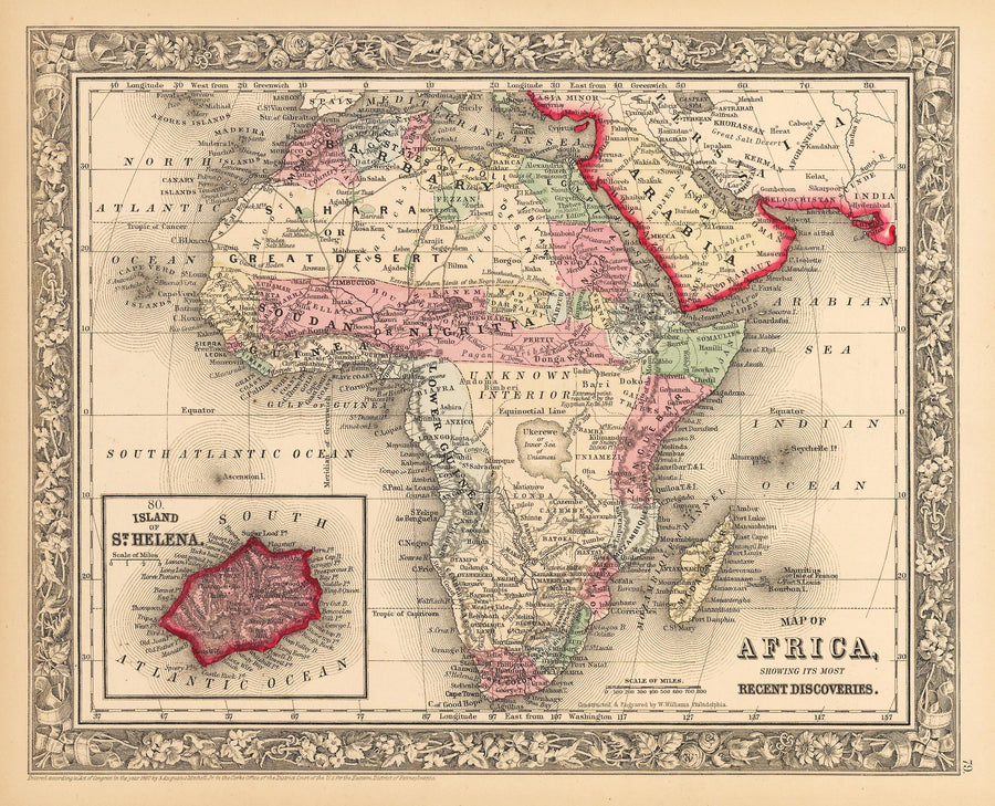 Map of Africa Showing Its Most Recent Discoveries