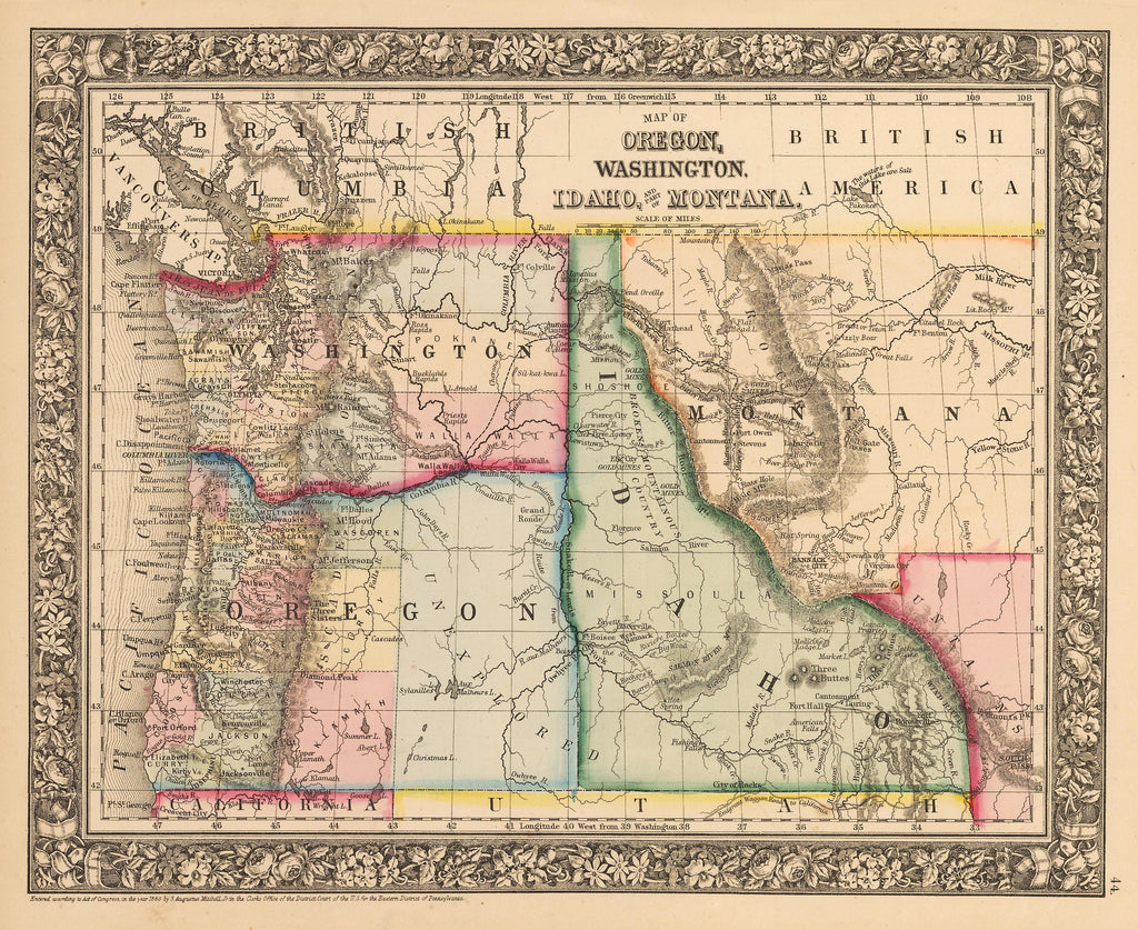 Antique Map of Oregon, Washington and Idaho by Mitchell 1862 : HJBMaps.com