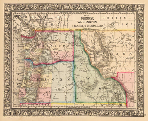 1862 Map of Oregon, Washington, Idaho, and part of Montana