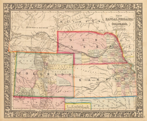 1862 Map of Kansas, Nebraska,and Colorado, Showing Also the Southern Part of Dacotah