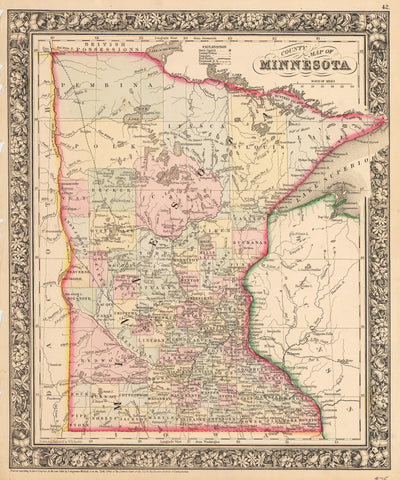 1862 County Map of Minnesota