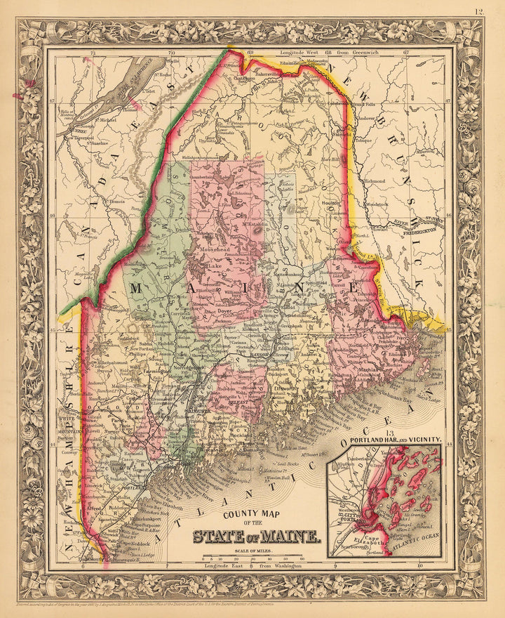 Antique Map of Maine by Mitchell 1862 : nwcartographic.com