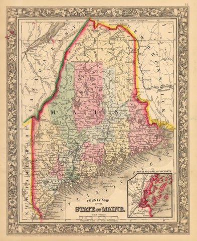 1862 County Map of the State of Maine