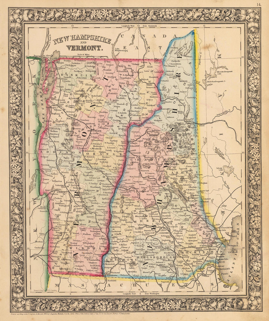 New Hampshire and Vermont, Antique, Map, of, Vermont, and, New, Hampshire, 19th Century