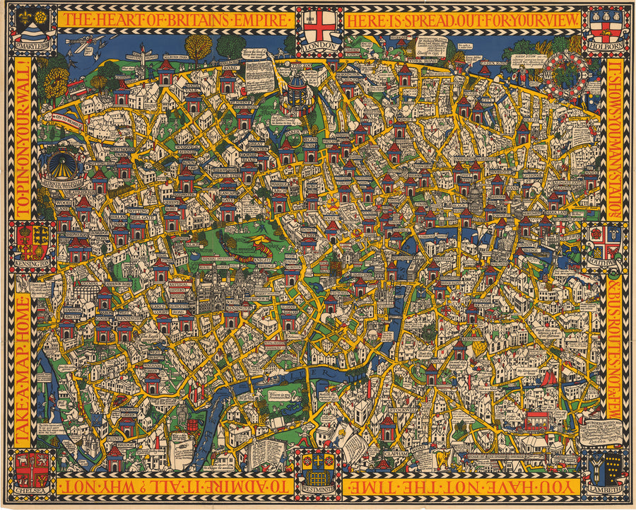 The Wonderground Map of London Town By: Leslie MacDonald Gill Date: 1924 - nwcartographic.com