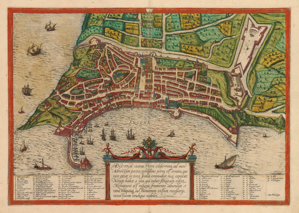 Map of Ancona. by: Braun & Hogenberg 1574 - HJBMaps.com