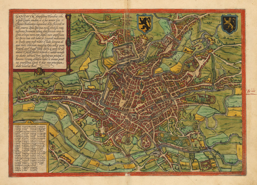Gandauum. Antique Map of Ghent, Belgium by: Braun & Hogenberg 1574 : hjbmaps.com