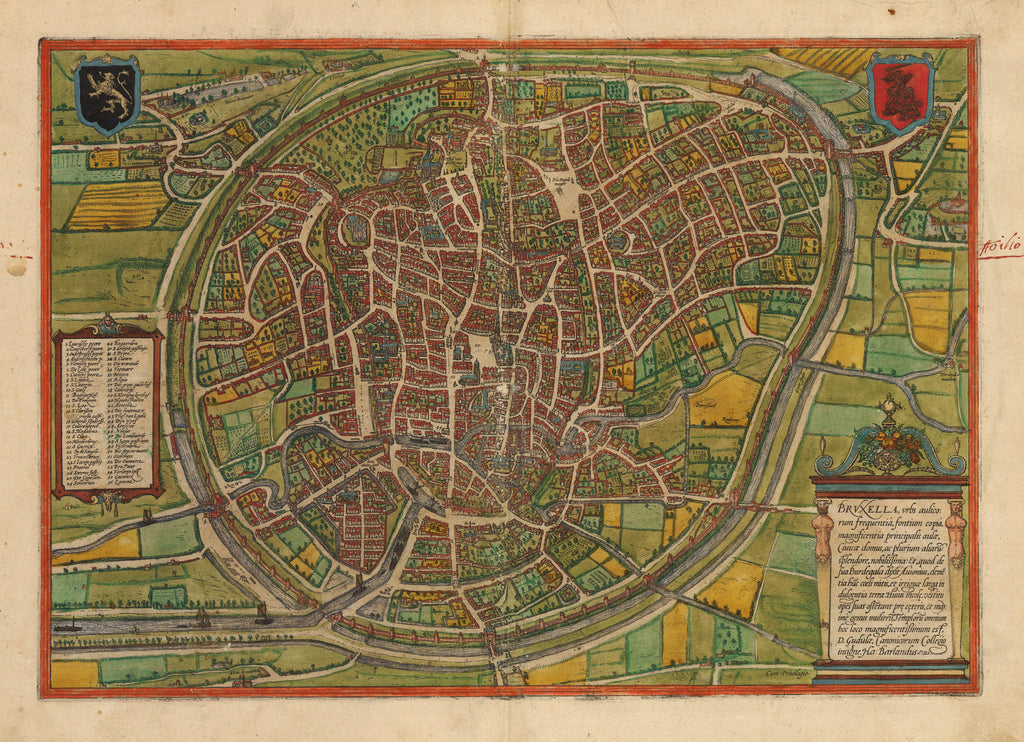 Bruxella. Antique Map of Brussels, Belgium by: Braun & Hogenberg 1574 : hjbmaps.com