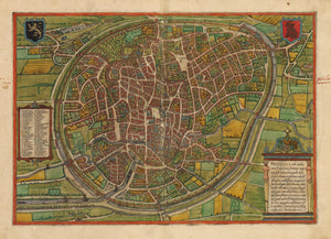 Bruxella. Antique Map of Brussels, Belgium by: Braun & Hogenberg 1574 : nwcartographic.com