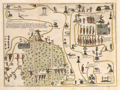 1720 Untitled [The Ancients' Migration from their Home in the Mountains to Tenochtitlan]