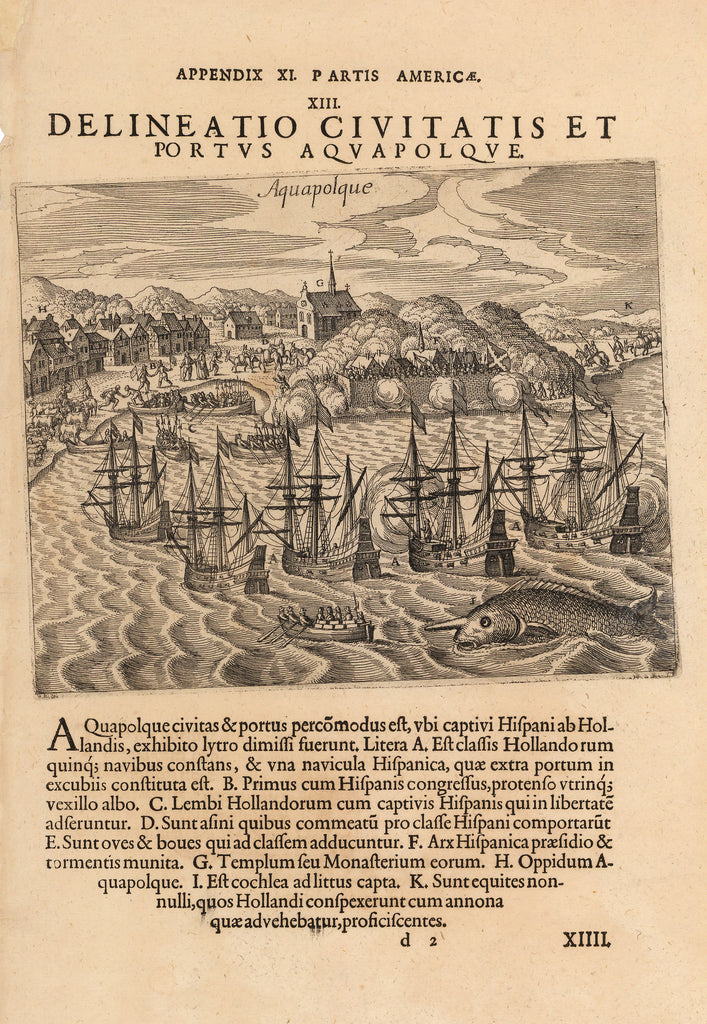 Delineatio Civitatis Et Portus Aquapolque., Acapulco, Mexico, Coast, coastal, southern Mexico, illustrated print, antique map, vintage, book, Mexican, 17th Century, Theodor de Bry, Ships, trade, port