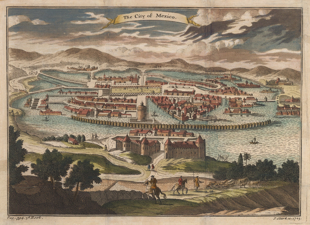 Antique Print : Bird's Eye View of the City of Mexico 1723