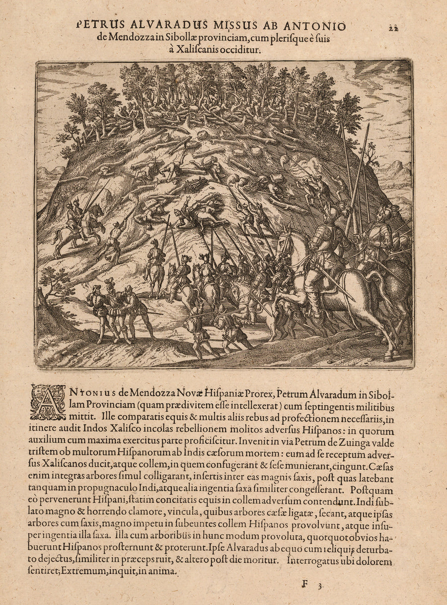 Petrus Alvaradus Missus Ab Antonio de Mendozzain Sibollae provinciam, cum plerisque e suis a Xaliscanis occiditur, Mexico, Alvarado, Conquistador, Chichimec, jalisco, De Bry, antique map, old print, 16th century