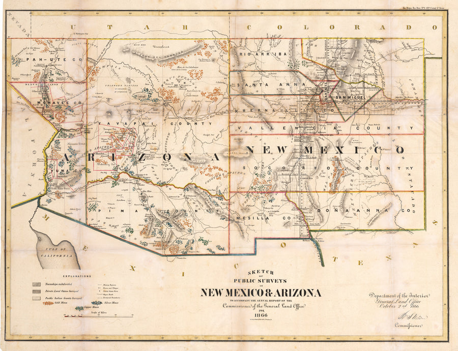 Sketch of Public Surveys in New Mexico & Arizona to accompany the annual report of the Comission of the General Land Office for 1866, New Mexico, Arizona, Southwest, United States, survey, old, map, antique, print, etching, engraving, 19th century