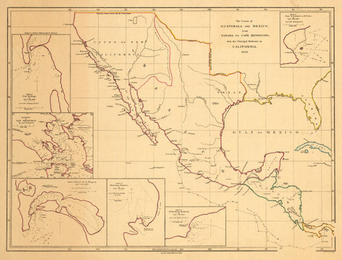 1839 The Coasts of Guatimala and Mexico from Panama to Cape Mendocino with the Principal Harbours in California 1839