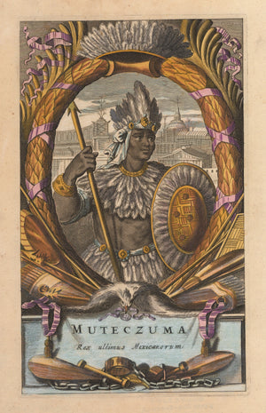 Muteczuma Rex ultimus Mexicanorum, 17th Century, Portrait, ruler, Montezuma, Montezuma II, Antique, Map, old, print, vintage, illustration, Aztec, king , Spanish, conquistadors, Cortes, Mexico, Mexico City, Ogilby