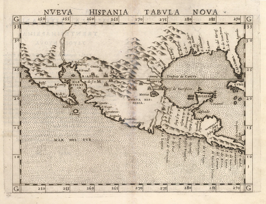 Nueva Hispania Tabula Nova, Trentesimaprima Tavola Nuova, Texas, California, SoCal, Florida, Cuba, Mexico, 16th Century, old, map, antique, print, engraving, gulf of Mexico, Pacific Ocean, North America, Central America, Ruscelli